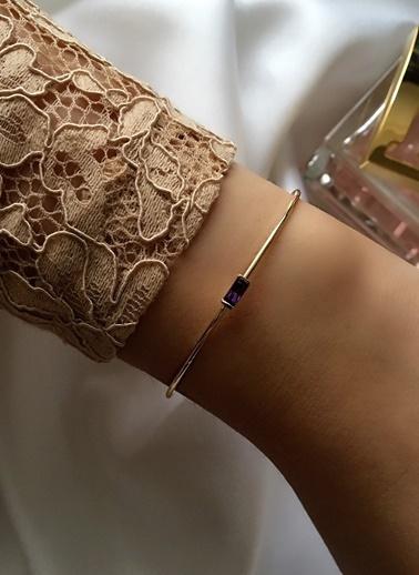 My Joyas Design Mor Baget Taşlı Çıtır Bilezik Altın